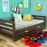2-Дитяче-ліжко-Немо-з-висувною-шуфляжою-темний-горіх-ARBOR-DREV